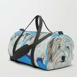 Two White Pups Dog Portrait Duffle Bag