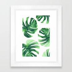 Monstera Leaves on White Framed Art Print