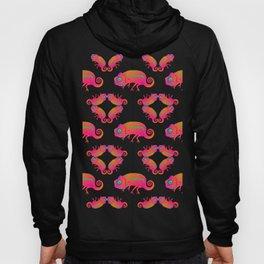 Chameleon. Neon Chameleons forming hypnotic patterns on a black background. Hoody