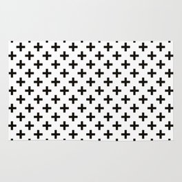 Criss Cross | Plus Sign | Black and White Rug