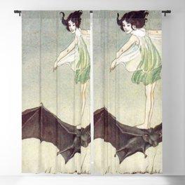 FAIRY GIRL RIDING A BAT - IDA RENTOUL OUTHWAITE Blackout Curtain