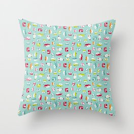 Multicolour Campers on aqua Throw Pillow