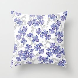 Hydrangea Blooms in Purple Throw Pillow