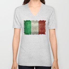 Flag of Italy, worn grungy style Unisex V-Neck