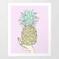 Tropical Pineapple Illustration Print Art Print