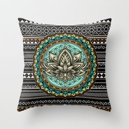 Lotus Mandala Pattern Throw Pillow