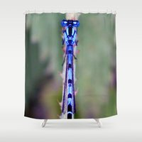dragonfly Shower Curtains featuring dragonfly by EnglishRose23
