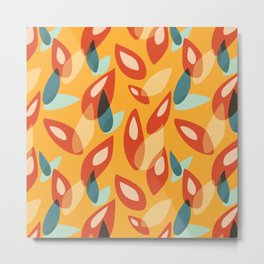 Orange Blue Yellow Abstract Autumn Leaves Pattern Metal Print