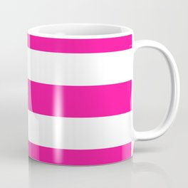 Fluorescent pink - solid color - white stripes pattern Coffee Mug