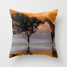 Giraffe at Sunset Throw Pillow