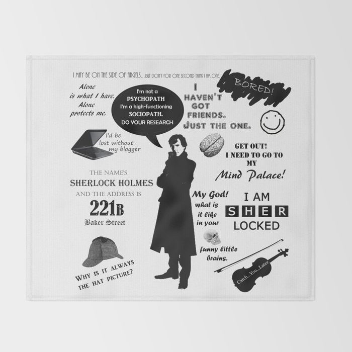 Sherlock Quotes | Sherlock Holmes Quotes Throw Blanket By Pmdooling Society6