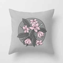 Sakura Branch - Ballet Slipper + Neutral Grey Throw Pillow