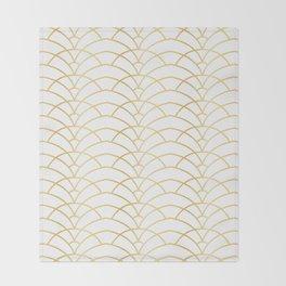 Art Deco Series - Gold & White Throw Blanket