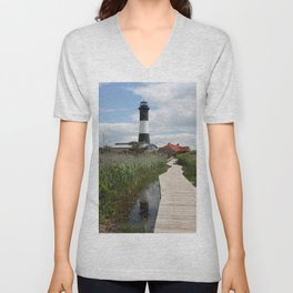 Fire Island Light With Reflection - Long Island Unisex V-Neck
