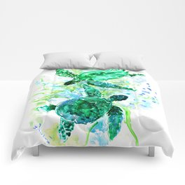 Sea Turtles Underwater Scene Turquoise Blue design, bright blue green design Comforters