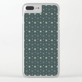 Circle Polka Dot Pattern 6, Night Watch, Alpaca Wool Cream and Scarborough Green Clear iPhone Case