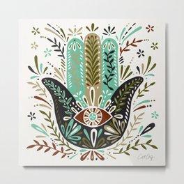 Hamsa Hand – Earth Palette Metal Print