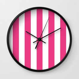 Cerise pink - solid color - white vertical lines pattern Wall Clock