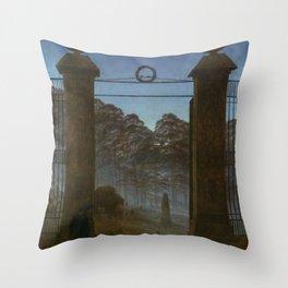 Caspar David Friedrich - Graveyard - Friedhof Throw Pillow