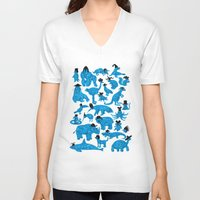 bedding V-neck T-shirts featuring Blue Animals Black Hats by WanderingBert / David Creighton-Pester