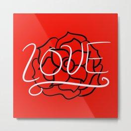 """Red """"LOVE"""" Rose Metal Print"""