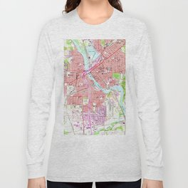 Vintage Map of Cedar Rapids Iowa (1967) Long Sleeve T-shirt