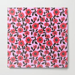 Red Poppy Fields Metal Print