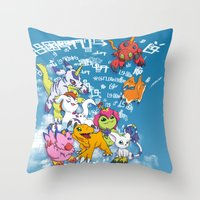 digimon Throw Pillows featuring Digimon Adventure Partners by Jelecy