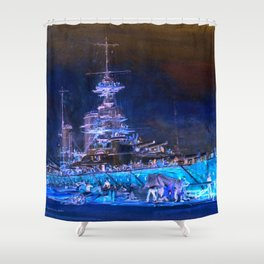 "Charles William Wyllie ""Princess Royal in dry dock after the Jutland battle"" Shower Curtain"