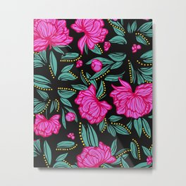 Fuscia Floral Metal Print