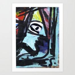 Blue Man Portrait Neo-ExpressionismAcrylic Painting by Emmanuel Signorino Art Print
