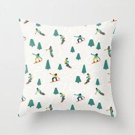 Snowboarding Illustration Pattern Throw Pillow
