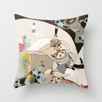 roald dahl Throw Pillows featuring Dream Catcher by Yoyo the Ricecorpse