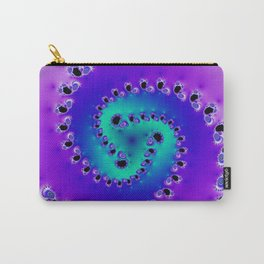 """Swool"" Teal & Purple Spiral Fractal Art Print Carry-All Pouch"