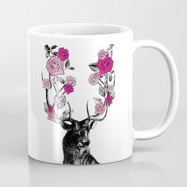 The Stag and Roses | Deer and Flowers | Pink | Vintage Stag | Vintage Deer | Antlers | Woodland | Coffee Mug