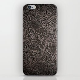 Distressed Smoky Tooled Leather iPhone Skin