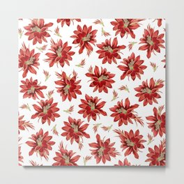 Red Christmas Cactus Flowers Floral Pattern Metal Print