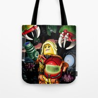 metroid Tote Bags featuring LEGO Metroid!! by Meteo Designs