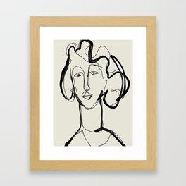 line art woman abstract minimal Framed Art Print