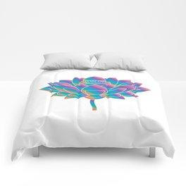 Blue Rainbow Lotus Holly Flower Comforters