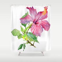 Tropical Pink Hibiscus Watercolor Shower Curtain