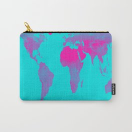World Map : Gall Peters Turquoise & Pink Carry-All Pouch