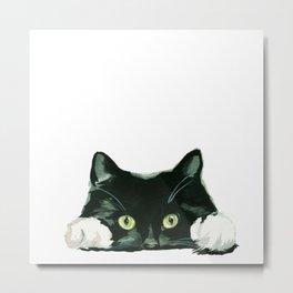 Black cat watching at you Metal Print