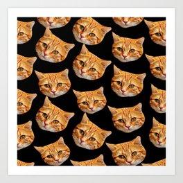 cute black and orange cat pattern Art Print
