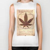 marijuana Biker Tanks featuring vitruvian marijuana by Emekli Astronot