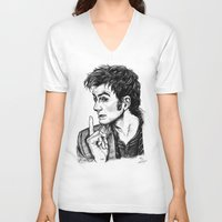 """david tennant V-neck T-shirts featuring The Doctor - David Tennant - """"Fingers on Lips!"""" by ieIndigoEast"""