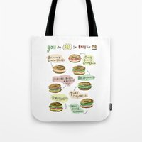 biology Tote Bags featuring Bagel Biology by Faye Finney