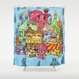 Suburbia USA Watercolor Shower Curtain
