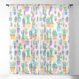 Sunny Happy Cactus Family Sheer Curtain