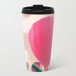Hot air balloon and heart bokeh on pale pink Travel Mug
